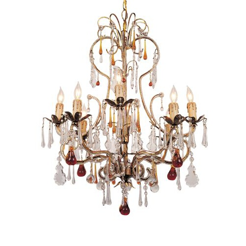 Venice Chandelier Adorned with Amber Colored Murano Crystal