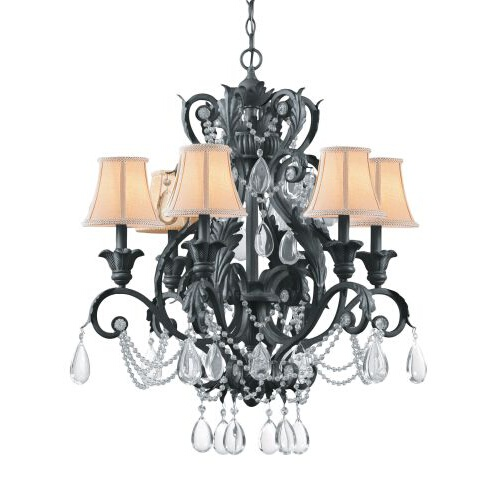 Lead Crystal Wrought Iron Handpainted Chandelier