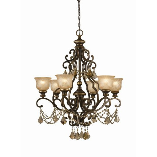 Golden Teak Crystal Draped on a Wrought Iron Chandelier Handpainted with a Amber Glass Pattern