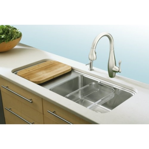 Kohler Prologue Undercounter Kitchen Sink-Wet Work Surface At Left