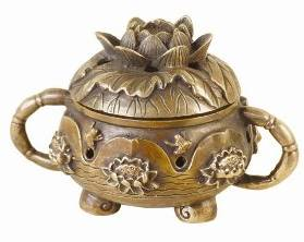 Bronze Lotus Resin Incense Burner