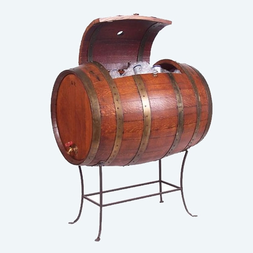 Full Wine Barrel Cooler w/Wrought Iron Base