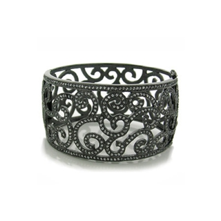 Morgan's Vintage Inspired Swirling Cubic Zirconia Black Rhodium Bracelet