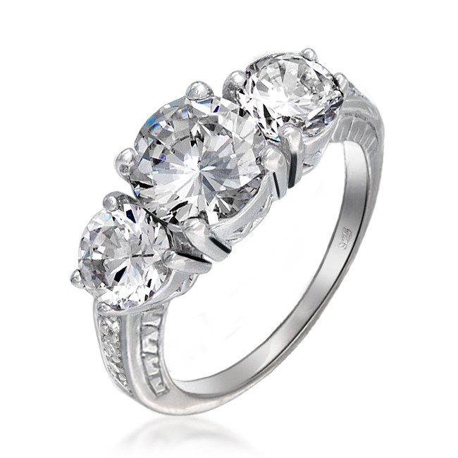Silver Round Cubic Zirconia Three Stone Engagement Ring Vintage Art Deco Style