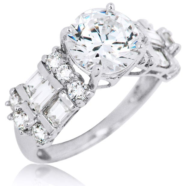 14k White Gold Cubic Zirconia Triple Row Vintage Fashion Ring