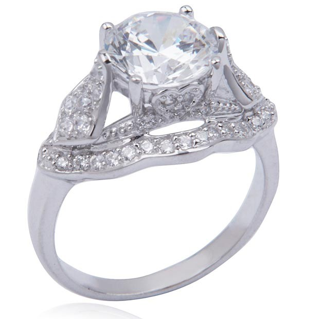 Sterling Silver and Round-Cut Cubic Zirconia Royal Jewels Ring - Vintage