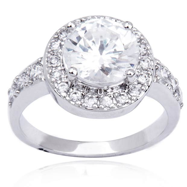 Sterling Silver and Round-Cut Cubic Zirconia Debutante Ball Ring