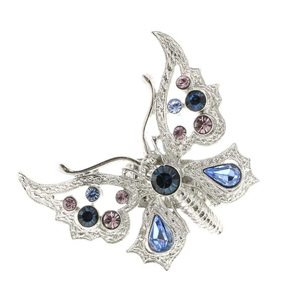Thalia Blue Crystal Butterfly Stretch Ring
