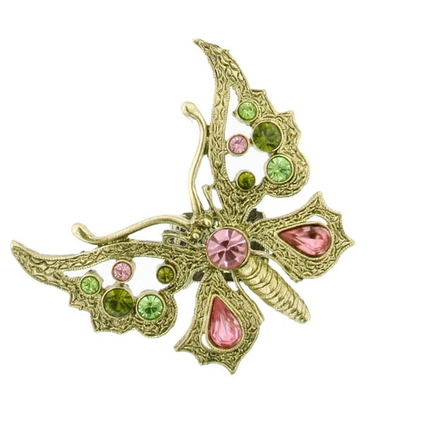 Thalia Pink Crystal Butterfly Stretch Ring