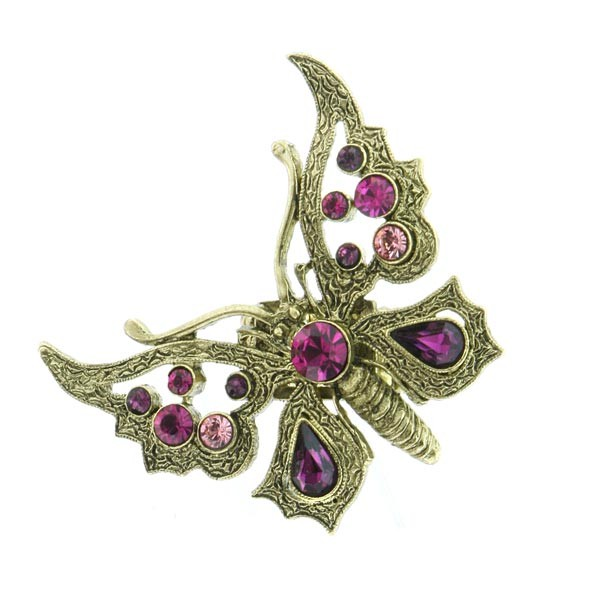 Brass Thalia Fuchsia Crystal Butterfly Stretch Ring
