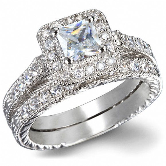 Kara's Heirloom Style Imitation Diamond Princess Shape Wedding Ring Set