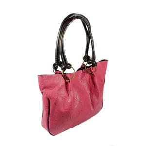 Pink Double Handle Leatherette Satchel Bag Handbag Purse