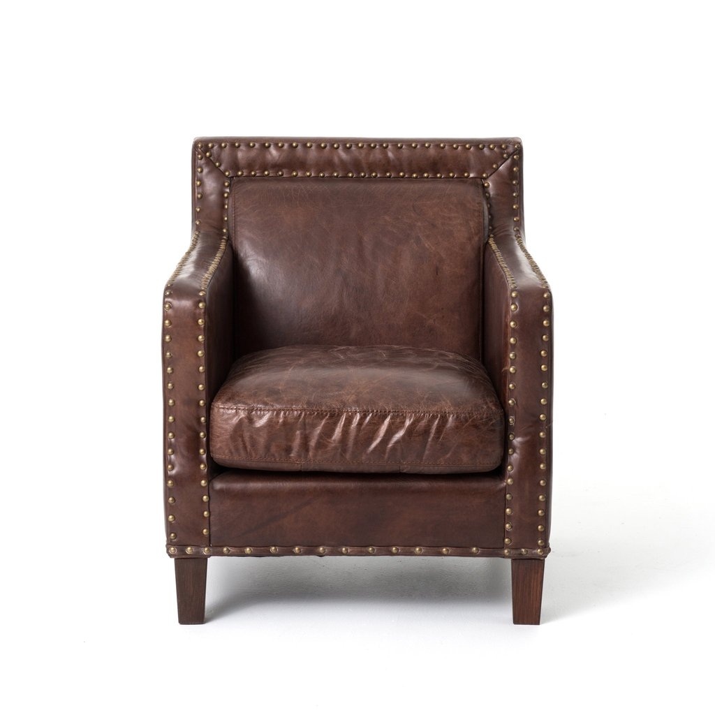 Alcott Club Chair \ English inspired club chair. Aged top grain leather accented with antique brass nailhead trim
