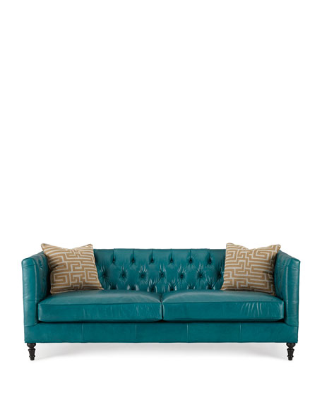 Alexandria Tufted Leather Sofa | Turquoise Leather Sofa | Turquoise Home Accents and Furniture
