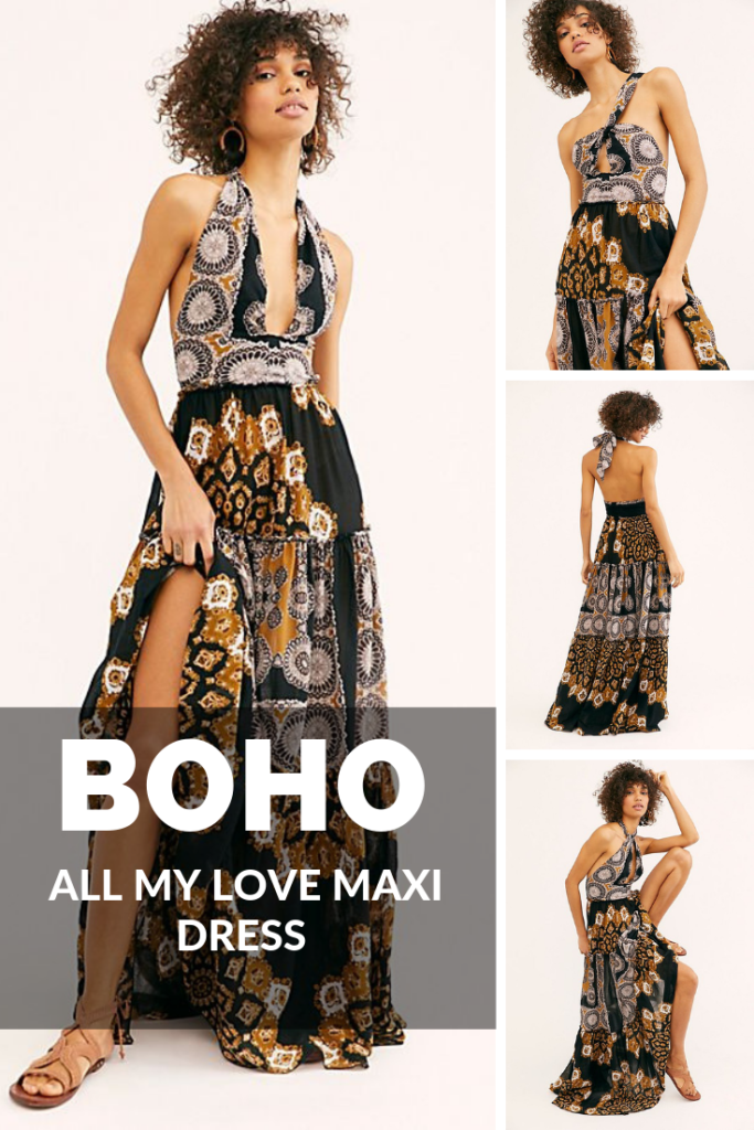 Boho All My Love Maxi Dress | Lightweight printed maxi dress featured in a halter silhouette.