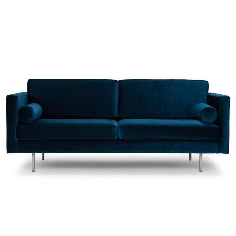 Cyrus Midnight Blue Loveseat with Velvet Touch