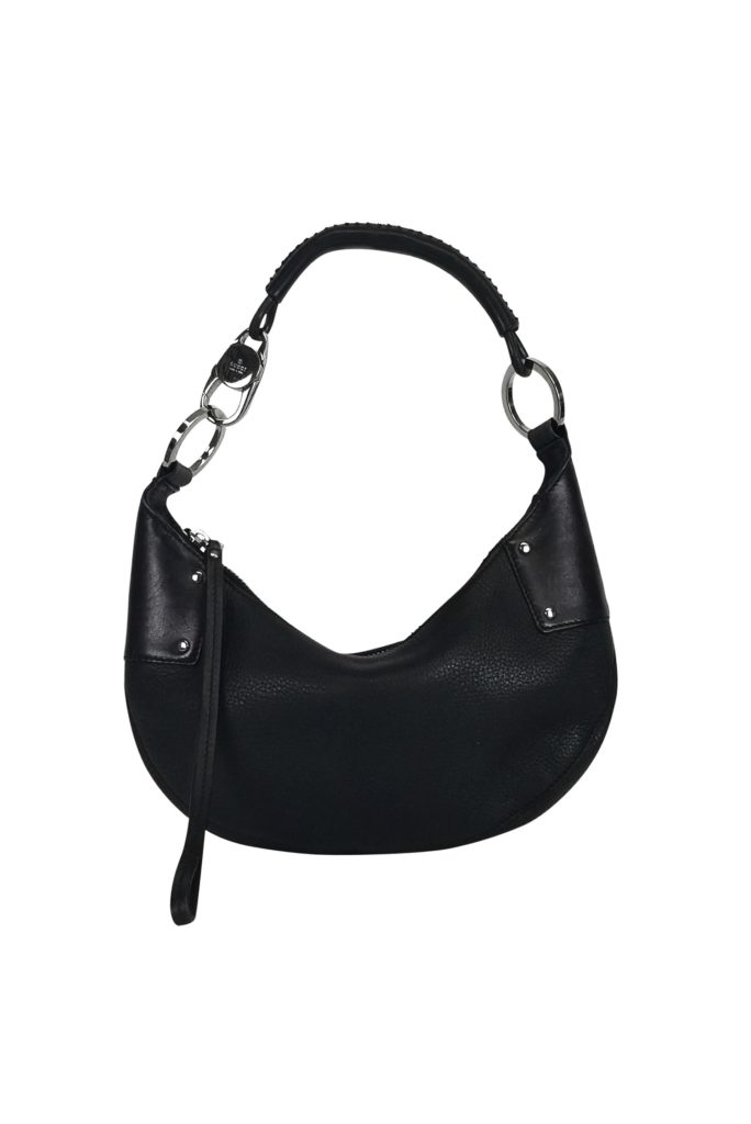 Gucci Black Leather Small Hobo Bag | This small chic hobo bag by Gucci is made from pebbled leather and has silver toned hardware accents. Made in Italy.