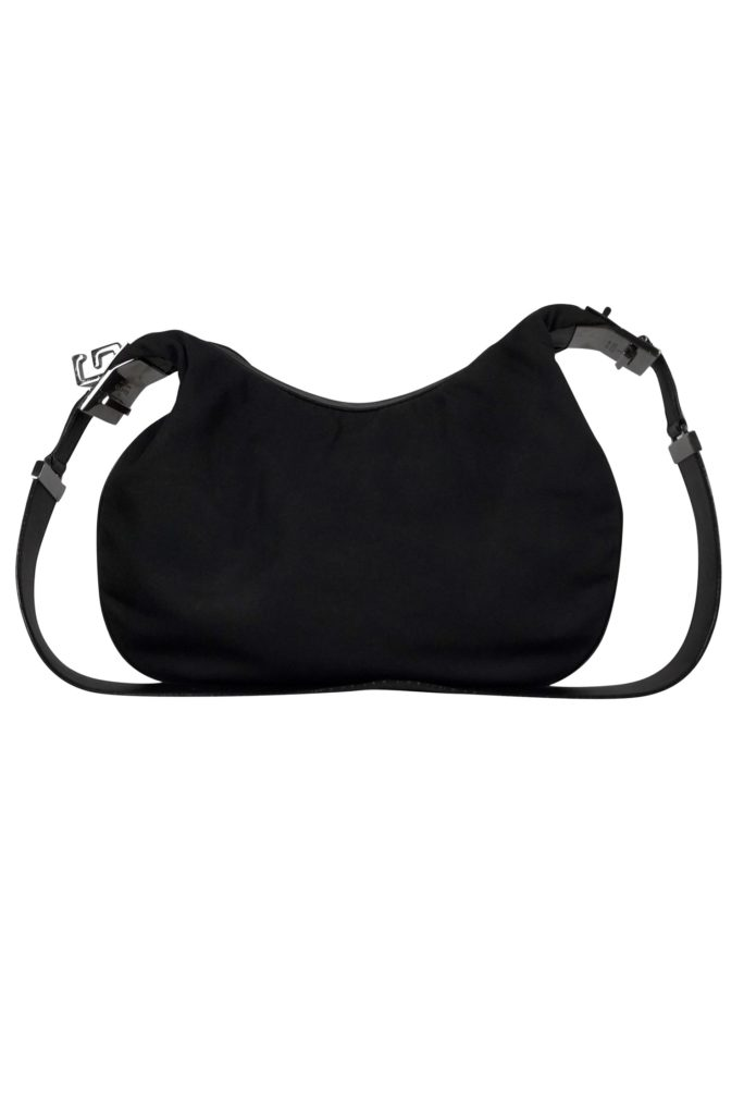 Gucci Black Nylon Purse | Gucci handbag made with nylon fabric and leather trim with gunmetal hardware accents. This handbag has a G clasp closure to add a unique look.