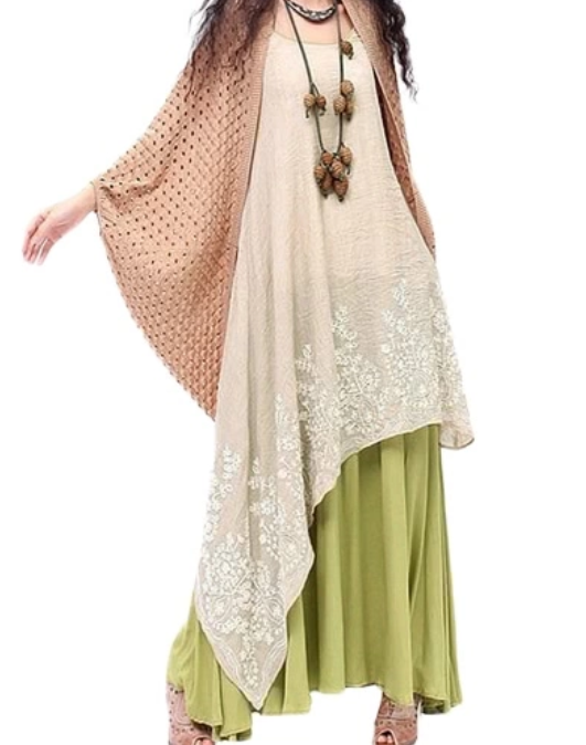 Loose Maxi Dress with Floral Embroidery from TomTop.com
