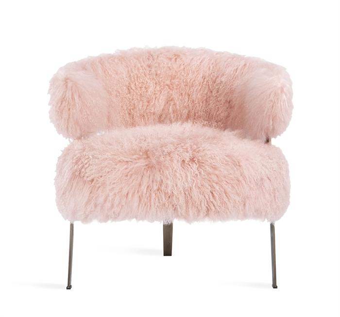 Fluffy Pink Sheepskin Chair