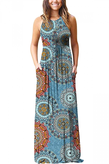 Sleeveless Tribal Print Pleated Pocket Maxi Dress from Pink Queen