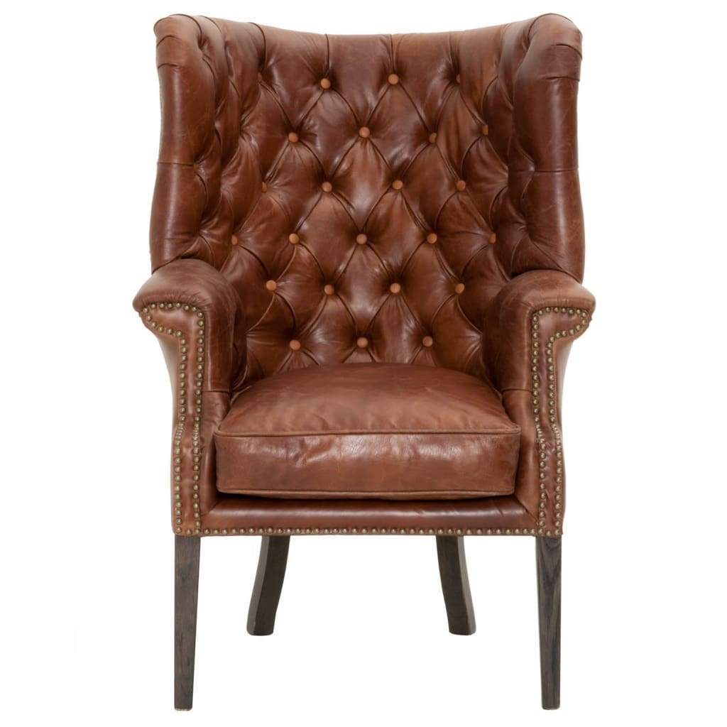 Upholstered Club Chair With High Curved Button Tufted Back