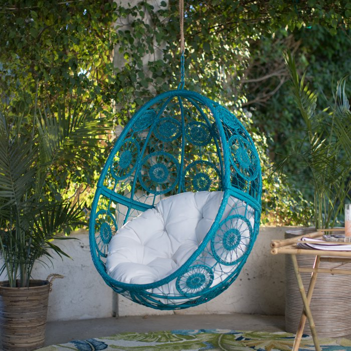 Turquoise Hanging Patio Egg Chair