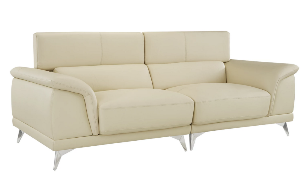 Castro Mid Century Modern Leather Match Sofa | A streamlined classic, our Mid Century Modern inspired Castro  Sofa is upholstered with hand-selected Top Grain Leather match, features  beautiful chrome legs, and sits atop a finely-crafted hardwood frame.