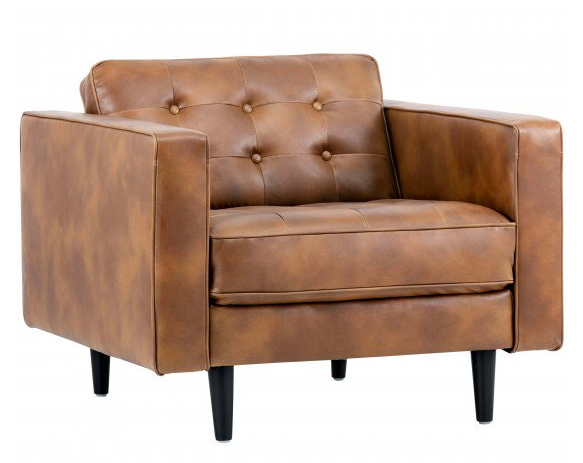 Donnie Leather Club Chair | Mid Century Design Tan Leather Arm Chair
