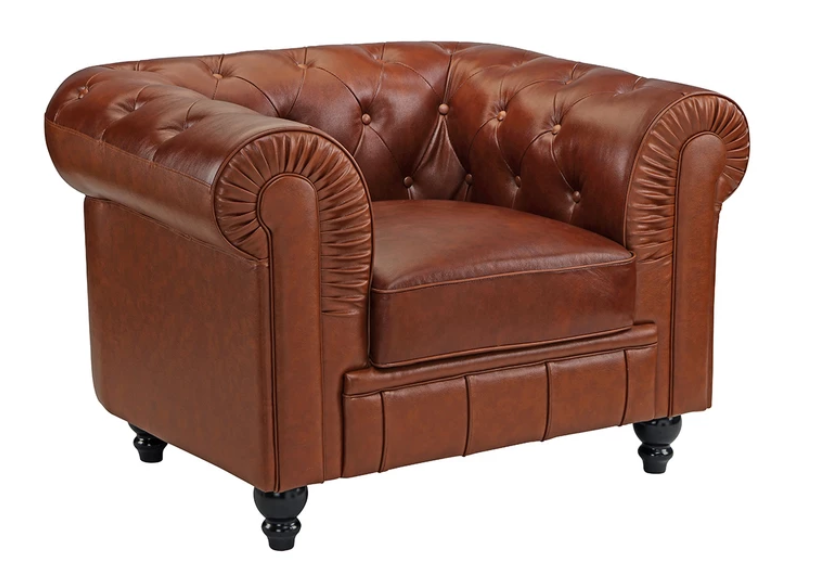 Jude Classic Victorian Leather Match Club Chair | Jude is a classic Victorian Style Club Chair with beautiful scroll arms,  and a tufted backrest with button details. It is upholstered in a  finely-crafted Top Grain Buffalo Leather Match.
