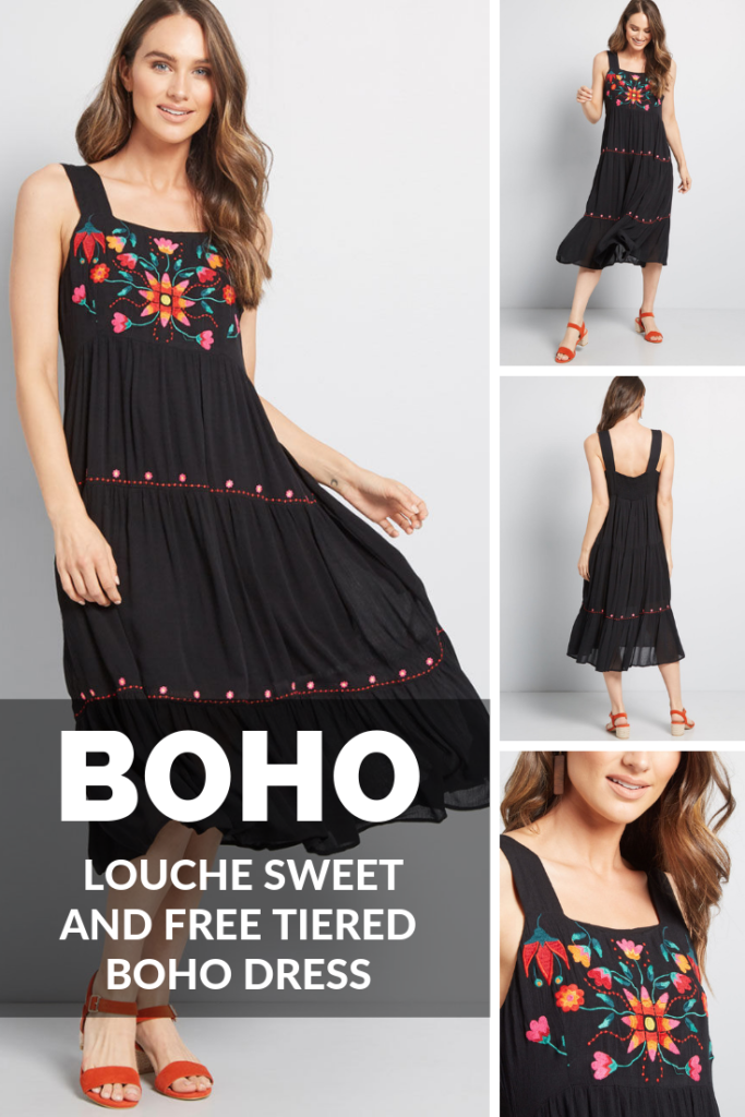 Louche Sweet And Free Tiered Boho Dress | Breezy by nature, this gorgeous black midi dress captures your go-with-the-flow attitude. UK brand Louche accents this sleeveless frock with colorful floral embroidery at the bust, hidden side pockets, shirring at the back, and a tiered hem that moves freely with every step.