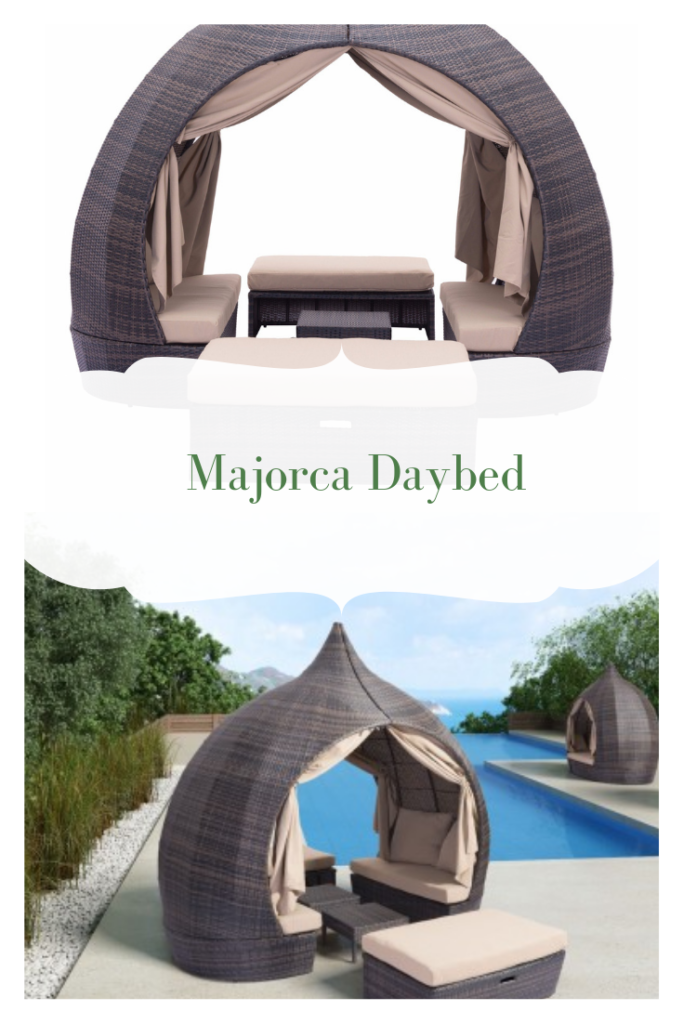 Majorca Outdoor Daybed | The dome shape of this piece creates your own environment for a relaxing resort feel that takes you to paradise and is stylish enough for any space. Perfect for indoor and outdoor spaces — cover or store indoors during inclement weather and when not in use.