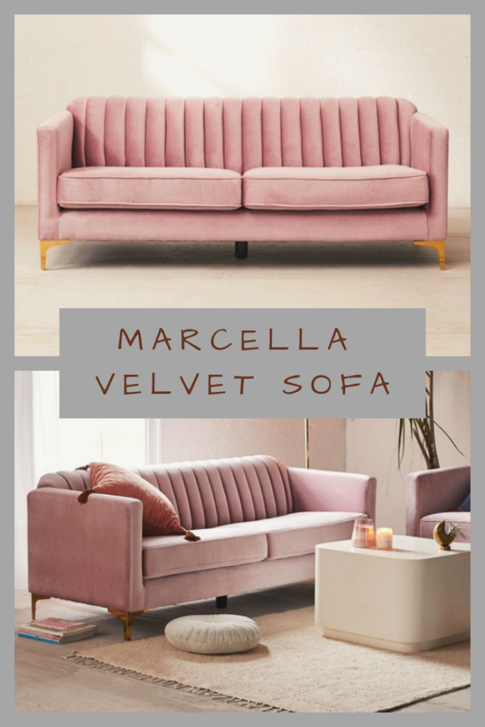 Marcella Velvet Sofa | Petite, chic and refined, this soft velvet sofa brings feminine style to your favorite rooms. In a smaller scale perfect for apartments, this sofa features dual cushioned seating and tufted back complete with slim, shiny metal legs.