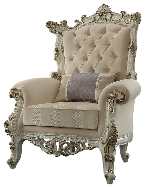 Wooden Baroque Accent Chair | Imbue your home in regal charm with this exquisite traditional style Accent Chair that makes any room feel luxurious. Constructed from wood in an antique white finish, the frame of this chair features gold finished baroque scrolls with a medallion crest on the crown and the apron. The rolled arms, seat and back of this chair are padded with soft foam and then upholstered in a cream fabric