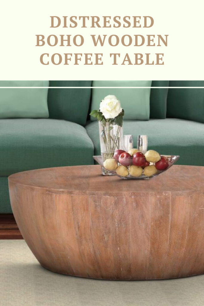 Distressed Boho Wooden Coffee Table