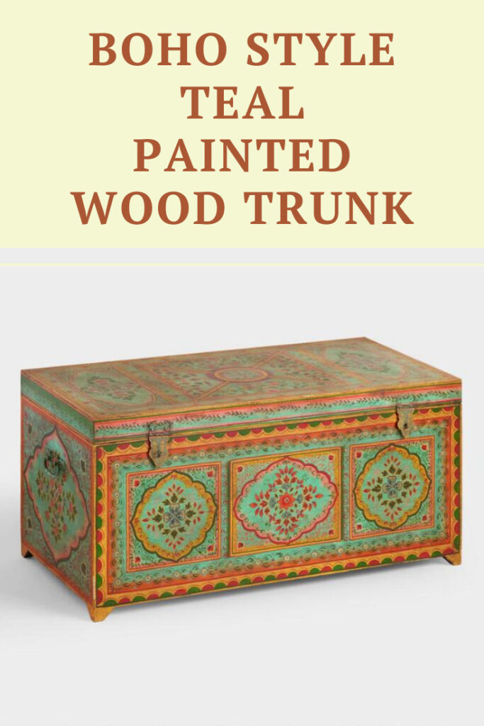 Keep blankets and other goods tucked away in your boho living space with this Boho Style Teal Painted Wooden Trunk that makes a great boho style coffee table.