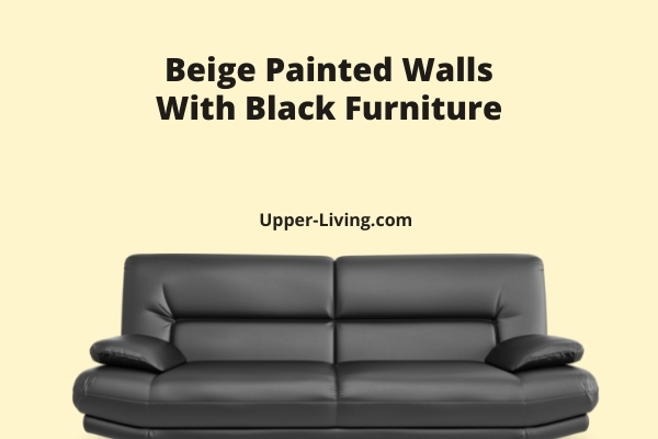 Beige Painted Walls With Black Sofa.