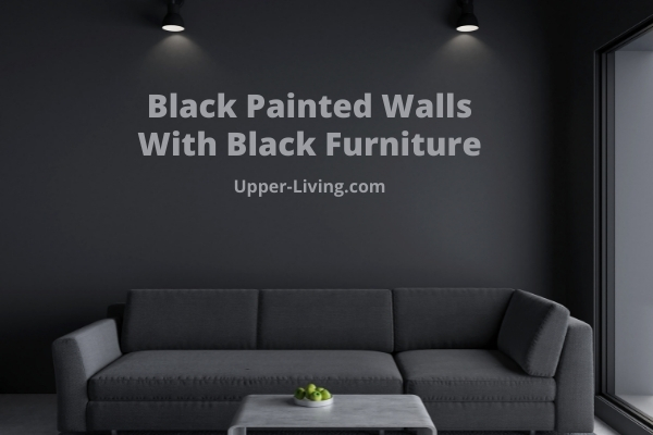 Black colored walls with black living room furniture.