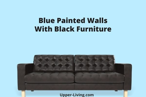 Light blue painted wall with black sofa.