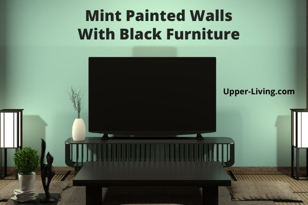 Mint colored walls with black furniture in the living room.